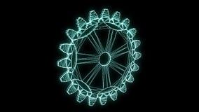 在全息图Wireframe样式的钝齿轮齿轮 好的3D翻译 影视素材