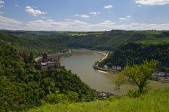 在全景莱茵河谷附近的loreley 库存图片