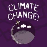 文本标志陈列气候变化 在全球性或地方气候非常迅速飞机上的概念性照片区别与 向量例证