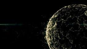 在全球性数字式网际空间的Blockchain网络 财政或社会抽象背景动画4K被转移到 向量例证