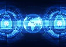 在全球网络背景,传染媒介例证的抽象技术安全 免版税库存照片