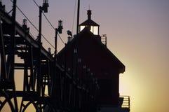 在全部避风港,密执安的灯塔 免版税库存图片