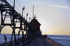 在全部避风港,密执安的灯塔 免版税库存照片