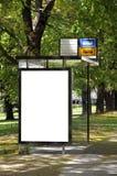 在公共汽车站的空白的广告牌 免版税图库摄影