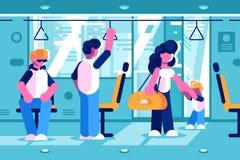 在公共汽车里面的乘客 库存例证