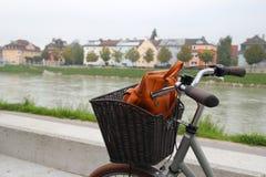 在公园、河和山的看法的一辆自行车 库存图片