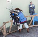 在公园与骑士战斗W的竞技场 Cherevichkin 图库摄影