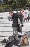 在公园与骑士战斗W的竞技场 Cherevichkin 免版税库存图片