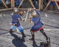 在公园与骑士战斗W的竞技场 Cherevichkin 库存照片