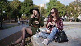 在公园吃三明治和谈话的两个女孩行家 股票录像
