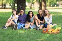 在公园坐草和看照相机的小组朋友 图库摄影