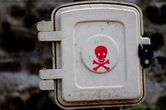 在公园安置的灯箱的危险标志在印度 免版税库存照片