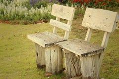 在公园把椅子换下场在庭院里 库存照片