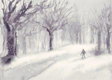 在公园水彩风景的雪 免版税库存图片