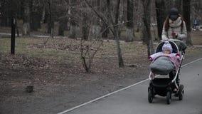在公园照顾走与一辆摇篮车并且读消息在电话 股票录像