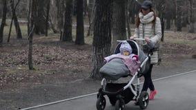 在公园照顾走与一辆摇篮车 背景本质空间您春天的文本 股票录像