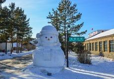在公园的一个快乐的雪人 库存图片