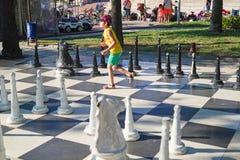 在公园的室外棋活动 免版税库存照片