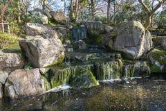 在公园的小小瀑布 图库摄影