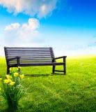 在公园的抽象庭院长凳 库存图片