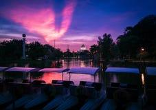 在公园的日落视图 库存照片