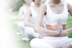 在公园的瑜伽训练 免版税库存图片