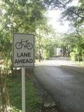 在公园的白色自行车道标志 免版税图库摄影