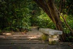 在公园的石长凳 免版税库存图片