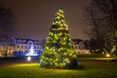 在公园的美好的圣诞节照明 库存照片