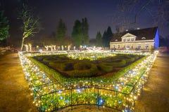 在公园的美好的圣诞节照明 免版税库存照片