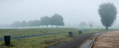 在公园的重的浓雾 免版税库存图片