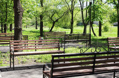 在公园等待假日游客的Benchs 图库摄影