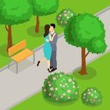 在公园等量设计的爱恋的夫妇 向量例证