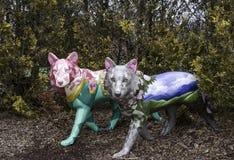在公园设置的狼雕塑 库存图片