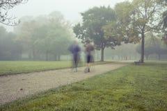 在公园跑的早晨 免版税库存图片