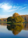 在公园附近的区蓝色田园诗湖 免版税库存图片