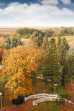 在公园风景秋天季节的楼梯 库存图片
