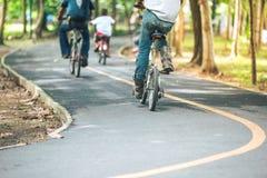 在公园骑自行车道路,骑自行车者的运动 库存图片