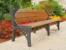 在公园,春天寒冷的背景的长凳 图库摄影