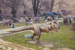 在公园3的恐龙展览 免版税库存图片