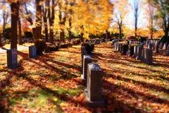 在公墓的墓碑 免版税库存图片