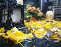 在公墓的秋天 在葡萄酒生动的颜色的艺术性的神色 库存图片