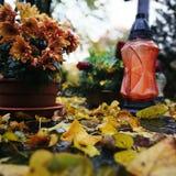 在公墓的秋天 在葡萄酒生动的颜色的艺术性的神色 免版税库存图片