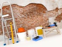 在公寓的修理 墙壁在楼房建筑房子里 库存图片