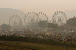 在公平普斯赫卡尔的骆驼的有雾的早晨,拉贾斯坦,印度 库存图片
