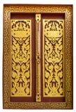 在公开寺庙的窗口由木头制成和绘与美丽 免版税库存照片