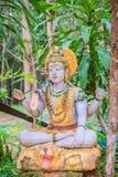 在公开森林寺庙的希瓦雕象 希瓦是其中一个印度教主要神  他是在Shaivi内的至尊 库存图片