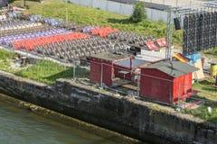 在公开观看的区域的空位在足球EM期间的雷根斯堡在法国 免版税库存照片