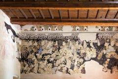 在公爵的故宫博物院的墙壁壁画在曼托瓦 免版税图库摄影