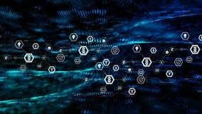 在六角形形状的抽象背景继续前进网络未来派概念的象和微粒黑暗与被处理的五谷 皇族释放例证